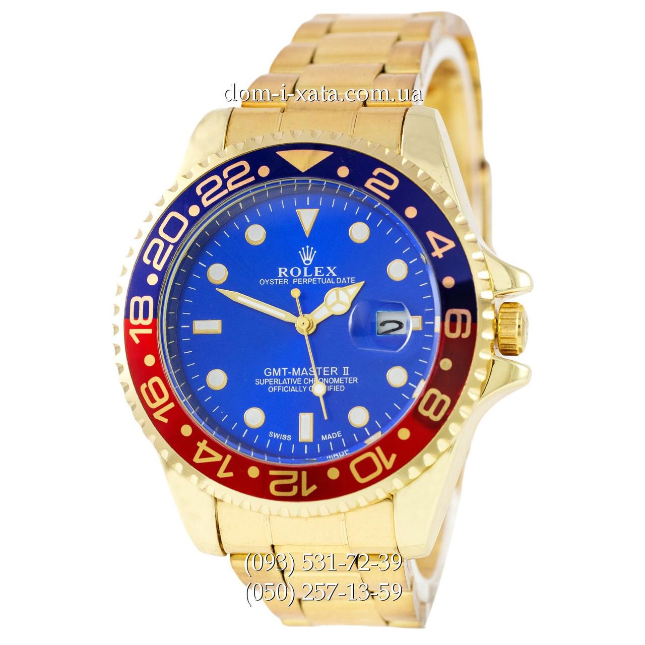 Мужские часы Rolex GMT-Master II Quarts Gold-Red-Blue, кварцевые часы Ролекс Мастер, реплика отличное качество!