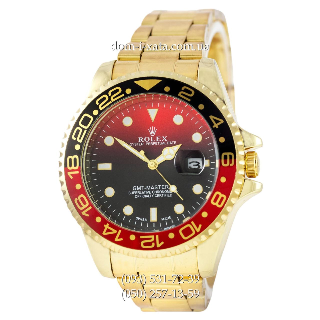 Мужские часы Rolex GMT-Master II Quarts Gold-Black-Red, кварцевые часы Ролекс Мастер, реплика отличное качество