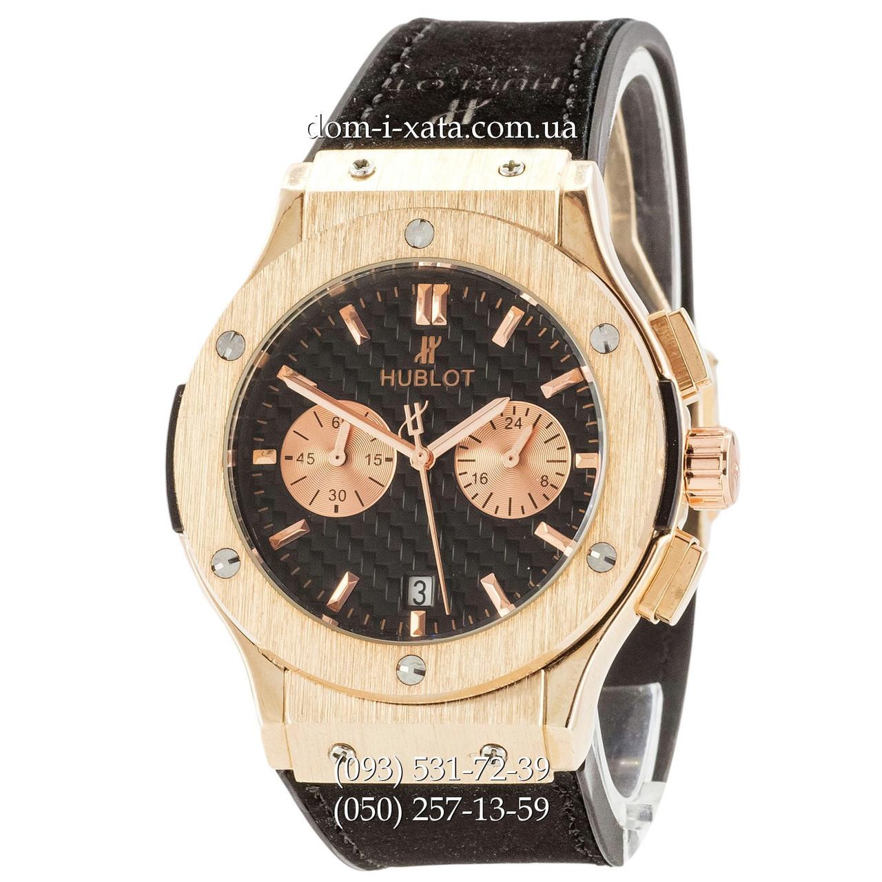 Мужские наручные часы Hublot Classic Fusion Quartz Black-Gold-Black, Хублот классик, реплика отличное качество!