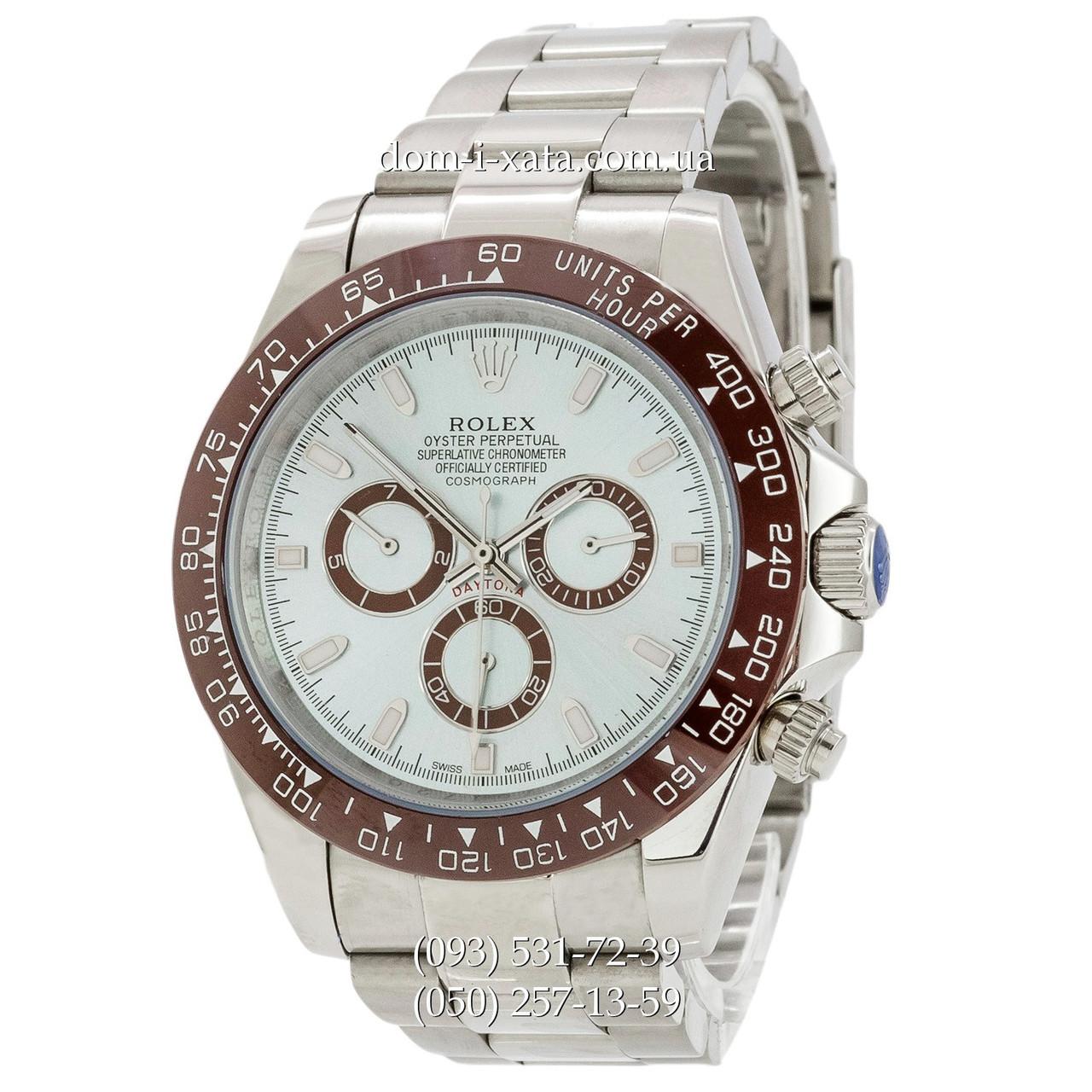 Мужские часы Rolex Daytona AAA Silver-Brown-Blue, механические часы Ролекс Дайтона качество, реплика отличное качество!
