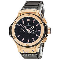 Мужские наручные часы Hublot King Power Automatic Black-Gold-Black, механические часы с автоподзаводом Хублот