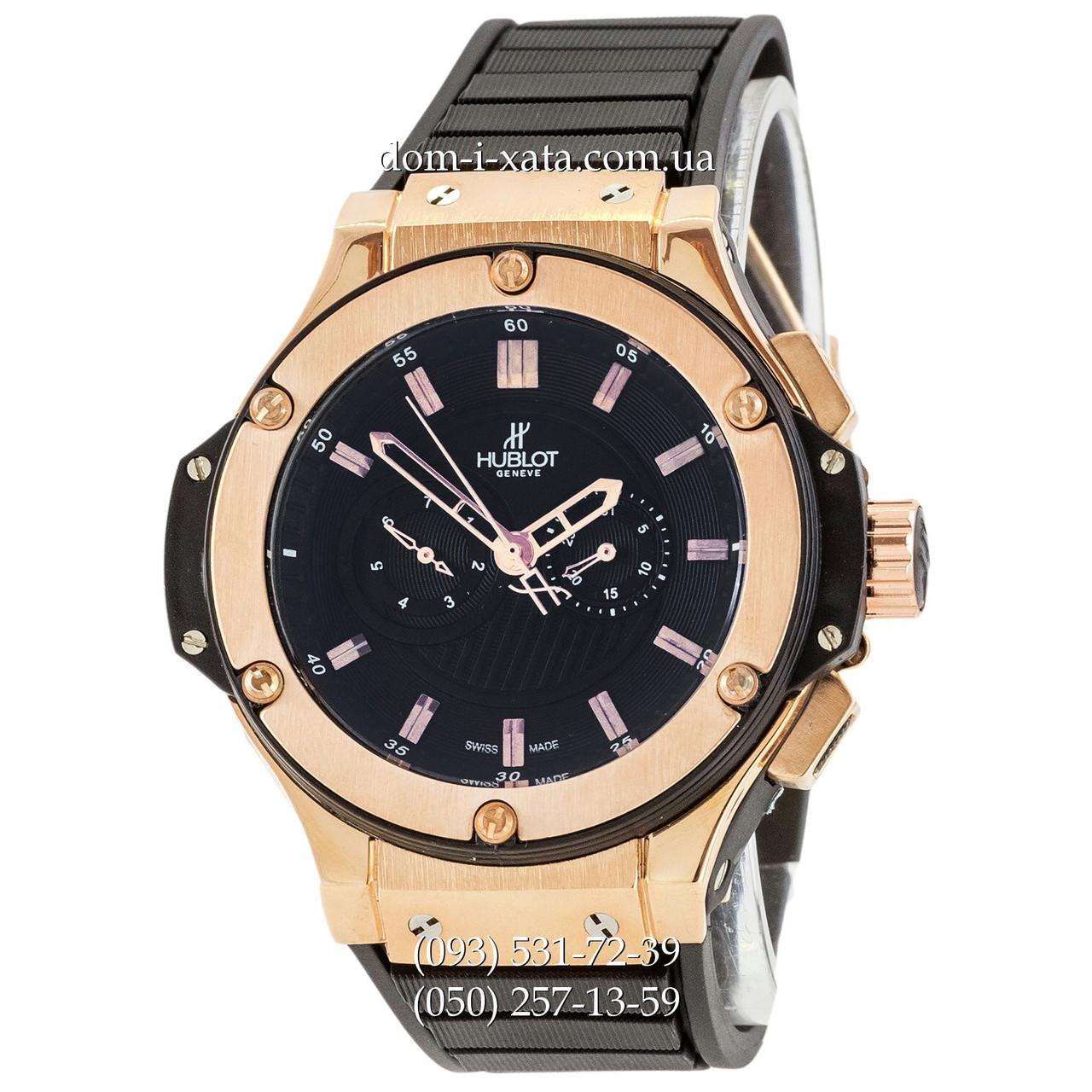 298ff62b1a04 Мужские наручные часы Hublot King Power Automatic Black-Gold-Black,  механические часы с