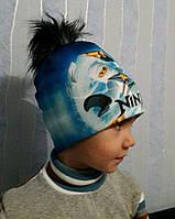 Детская зимняя шапка на мальчика Ниндзяго, на флисе,бубон ,на обьем 50-54см