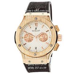 Мужские наручные часы Hublot Classic Fusion Quartz Black-Gold-White, Хублот классик, реплика отличное качество