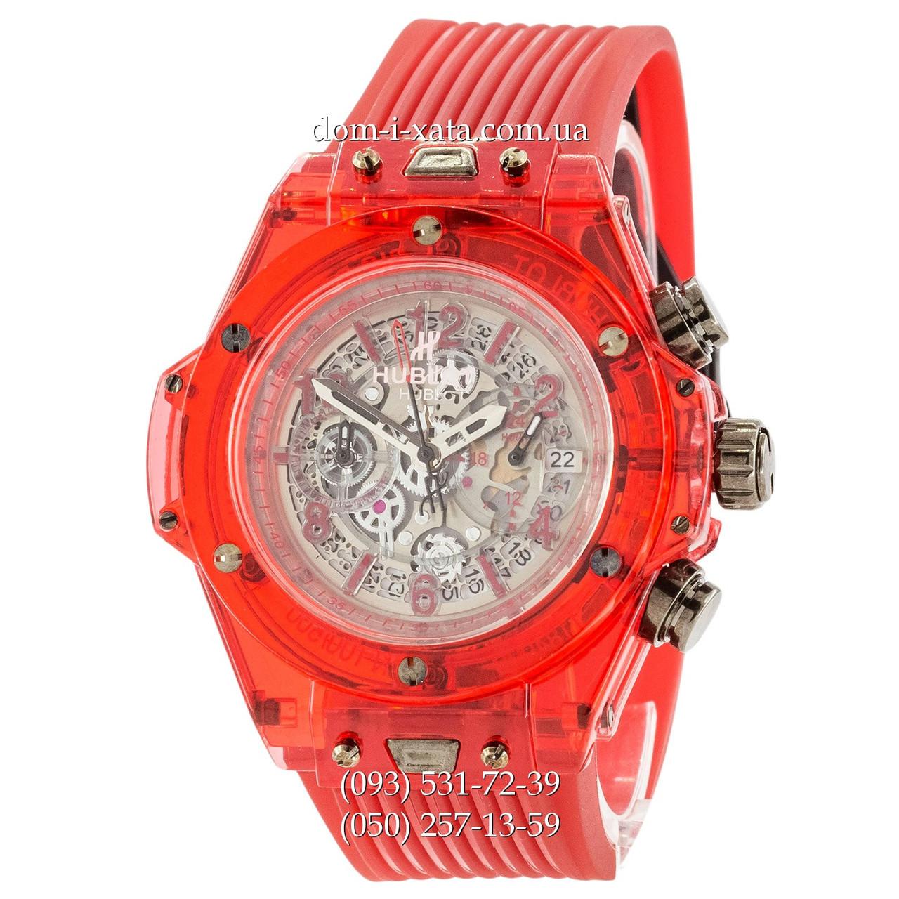 Мужские наручные часы Hublot Big Bang Quartz Unico Sapphire Red, кварцевые часы с хронографом Хублот, реплика отличное качество!