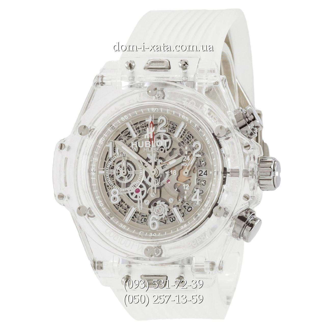 Мужские наручные часы Hublot Big Bang Quartz Unico Sapphire White, кварцевые часы с хронографом Хублот, реплика отличное качество!