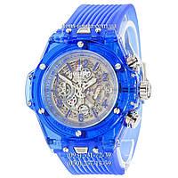 Мужские наручные часы Hublot Big Bang Quartz Unico Sapphire Blue, кварцевые часы с хронографом Хублот