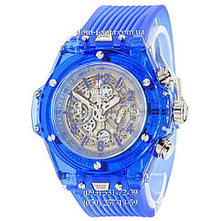 Мужские наручные часы Hublot Big Bang Quartz Unico Sapphire Blue, кварцевые часы с хронографом Хублот, реплика отличное качество