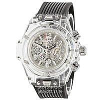 Мужские наручные часы Hublot Big Bang Quartz Unico Sapphire Black-White, кварцевые часы с хронографом Хублот