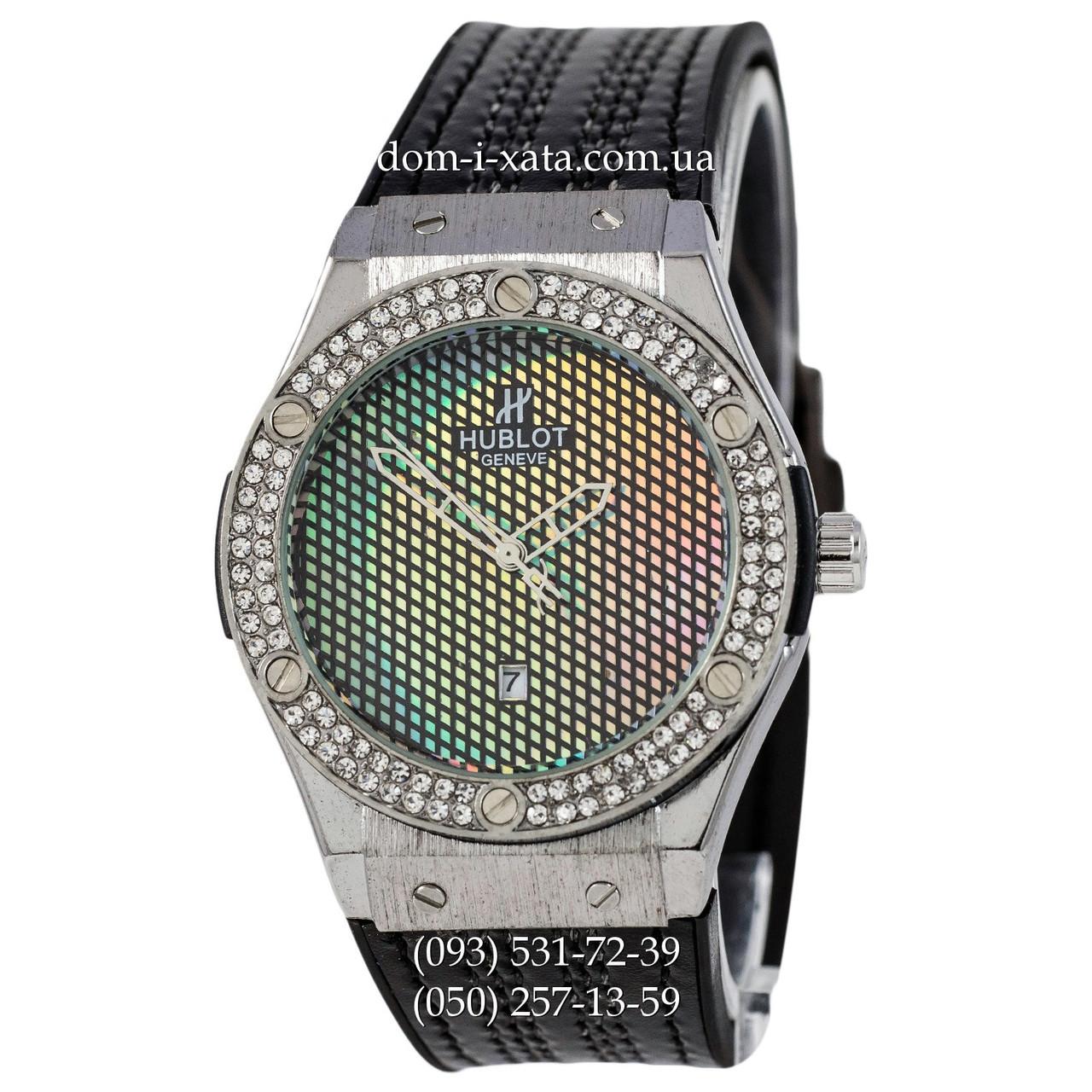 Мужские наручные часы Hublot Classic Fusion Black-Silver Crystal, Хублот классик, реплика отличное качество!