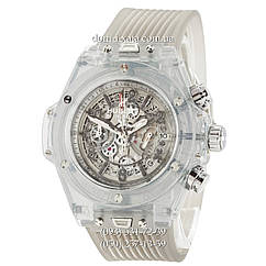 Мужские наручные часы Hublot Big Bang Quartz Unico Sapphire Gray, кварцевые часы с хронографом Хублот, реплика отличное качество!