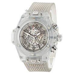 Мужские наручные часы Hublot Big Bang Quartz Unico Sapphire Gray, кварцевые часы с хронографом Хублот, реплика отличное качество