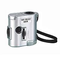 Карманный микроскоп MG 9592 60X с LED и ультрафиолетовой подсветкой, фото 1