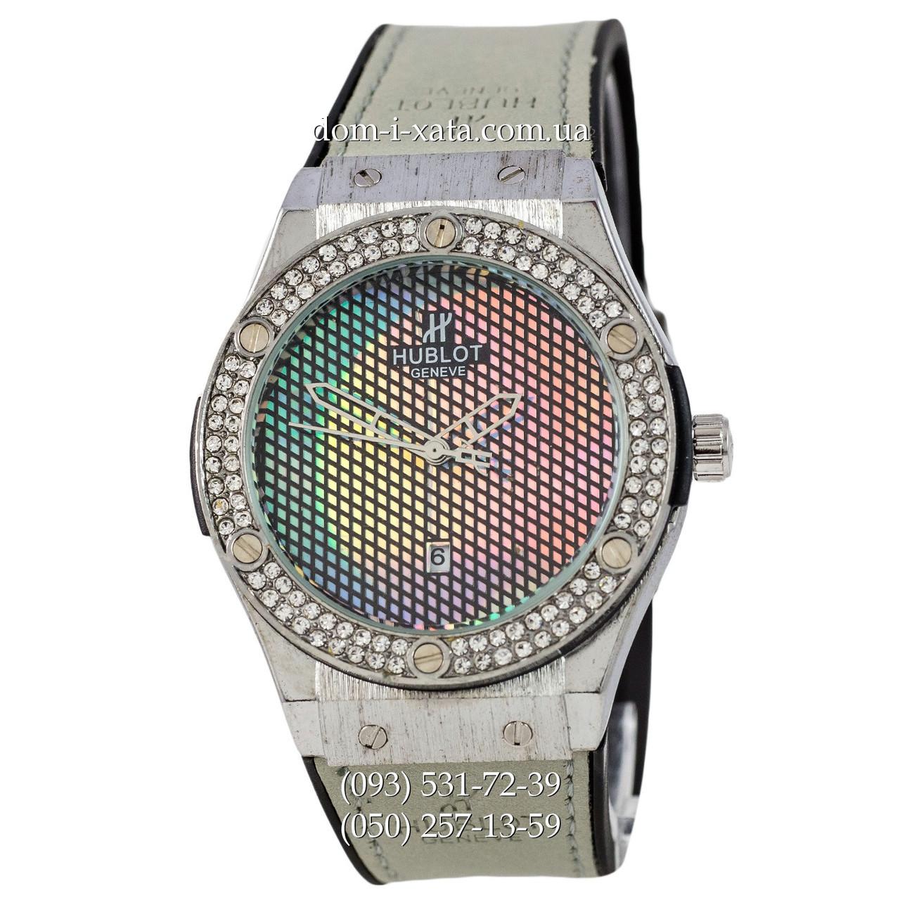Мужские наручные часы Hublot 882888 Classic Fusion Gray-Silver Crystal, Хублот классик, реплика отличное качество!