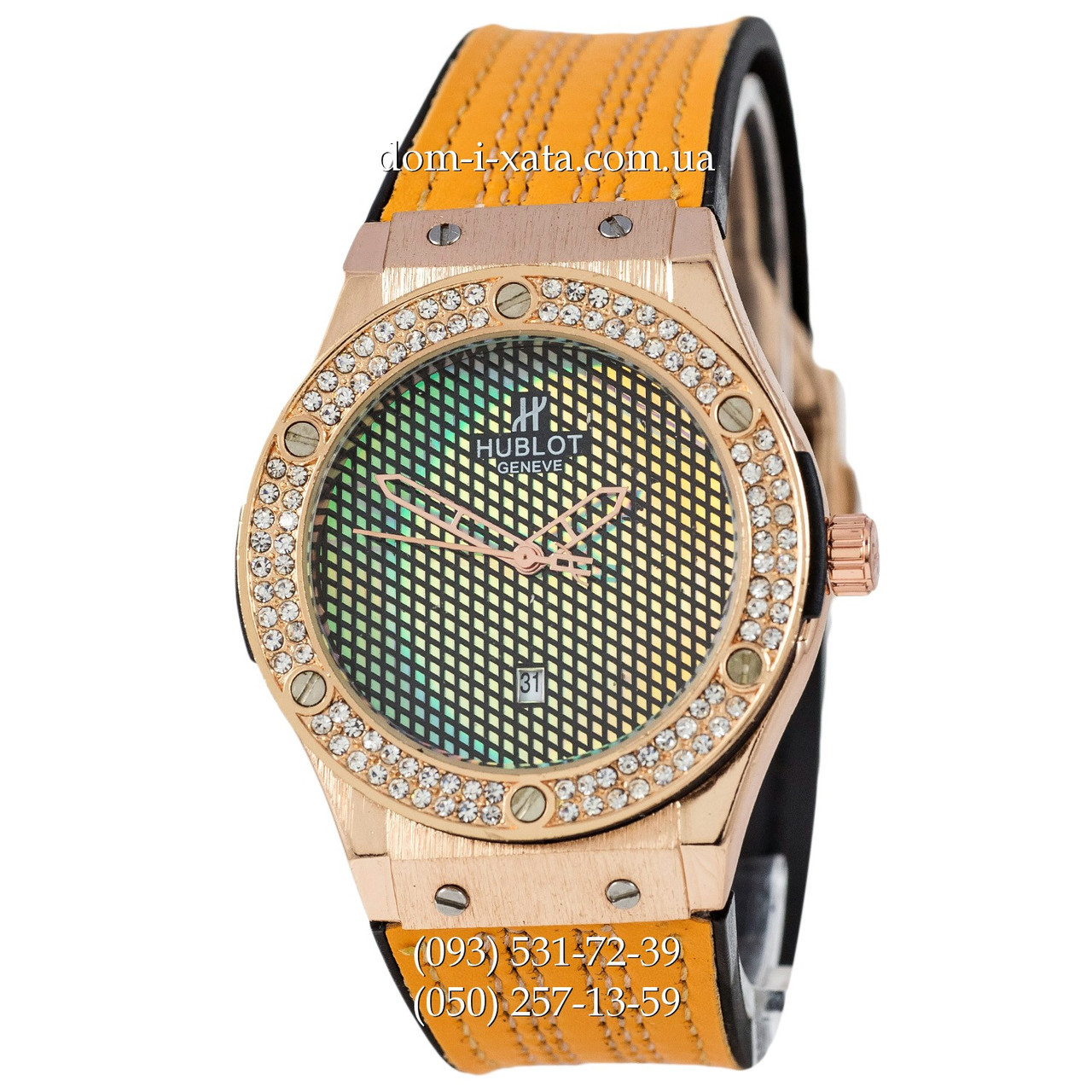 Мужские наручные часы Hublot 882888 Classic Fusion Brown-Gold-Crystal, Хублот классик, реплика отличное качество!