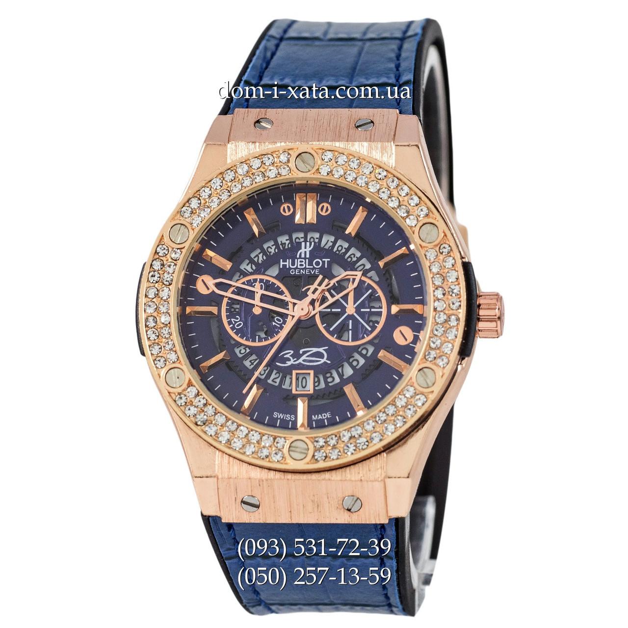 Мужские наручные часы Hublot 882888 Classic Fusion Crystal Blue-Gold-Blue, Хублот классик, реплика отличное качество!