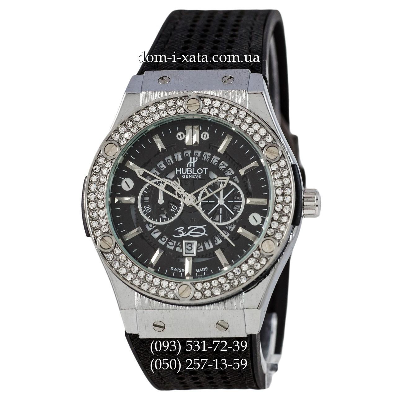Мужские наручные часы Hublot 882888 Classic Fusion Crystal Black-Silver-Black, Хублот классик, реплика отличное качество!