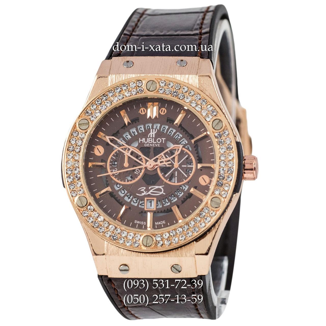 Мужские наручные часы Hublot 882888 Classic Fusion Crystal Brown-Gold-Brown, Хублот классик, реплика отличное качество!