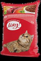 Сухой полнорационный корм Мяу! для взрослых котов с индейкой и садовой травой 11 кг