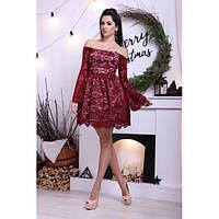 Вечернее ажурное платье набивной гипюр с подъюбником