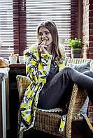 Плюшевый халат с капюшоном (цвет желто-серый) / Халат женский теплый