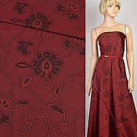 402037489 - Шелк искусственный жаккардовый бордовый в черные цветы, ш.160