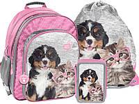 Рюкзак школьный с собакой и кошкой с комплектом 3 шт. PASO