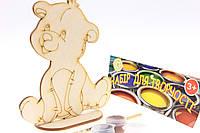 """Набор-Раскраска 3D для детей """"Собачка"""" из дерева с кисточкой и красками"""