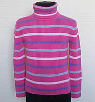 """Детский гольф """"Полосатик"""",трикотаж вязка, размеры:92-122, цвет: розовый"""