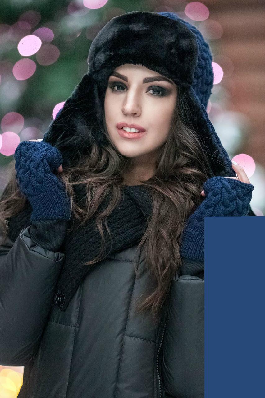 Зимняя вязаная шапка с митенками на флисе пряжа поло, женские вязаные шапки с митенками оптом от производителя