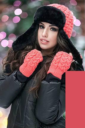 Зимняя вязаная шапка с митенками на флисе пряжа поло, женские вязаные шапки с митенками оптом от производителя, фото 2