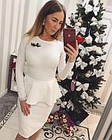 Женский юбочный костюм кофта с баской и юбка до колен