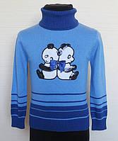 """Детский гольф """"Панды"""",трикотаж вязка, размеры:98-122, цвет: голубой"""
