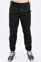 Брюки карго мужские милитари чёрные Cargo MAN AND WOLF street wear рип-стоп (50/50)