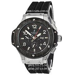 Мужские наручные часы Hublot Big Bang Automatic Black-Metallic-Black механические часы с автоподзаводом Хублот, реплика отличное качество!