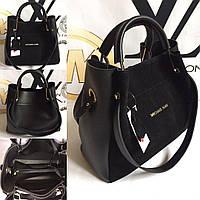 Комбинированная женская сумка Michael Kors Замш+экокожа черная, фото 1