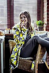 Копия Плюшевый халат с капюшоном (цвет желто-серый) / Халат женский теплый