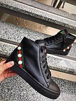 Женские ботинки Гуччи.Натуральная кожа/замша