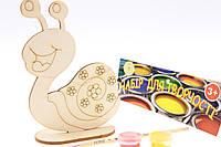 """Набор-Раскраска 3D для детей """"Веселая улитка"""" из дерева на подставке с кисточкой и красками"""