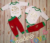 Детский новогодний бодик с штанишками 68-86 см