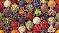 Специи и пряности, чеснок молотый, перец горошек, перец молотый, кориандр зерно, кориандр молотый, корица