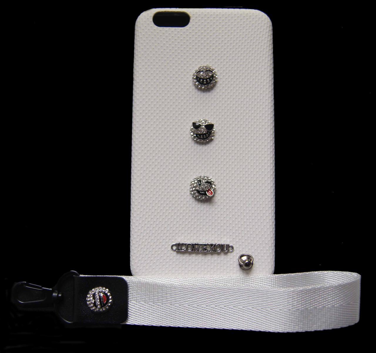 Пластиковый чехол для iPhone 6 Plus / 6S Plus Белый с смайликами и ремешком