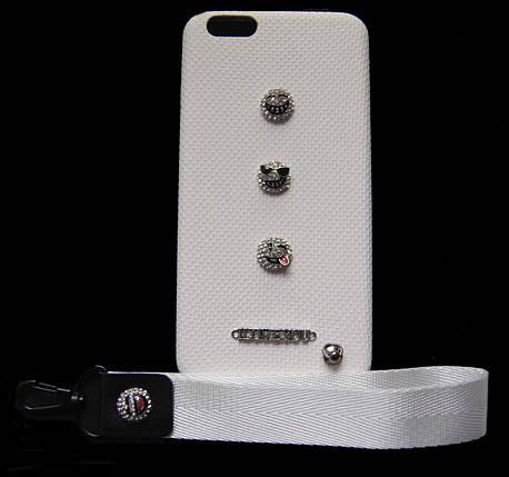 Пластиковый чехол для iPhone 6 Plus / 6S Plus Белый с смайликами и ремешком, фото 2