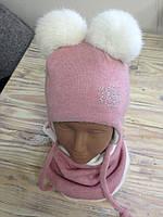 Зимний набор шапка и хомут для девочки белый кролик