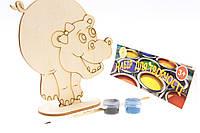 """Набор-Раскраска 3D для детей """"Бегемотик"""" из дерева на подставке с кисточкой и красками"""