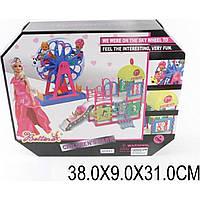 """Мебель """"Аттракцион""""66843  с куклой шарнир.,мал.куколк.,горка,колесо обозр., в кор.3"""