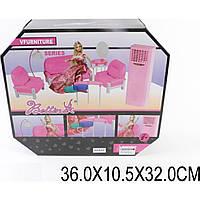 Игрушка мебель 66862  для гостиной, с куклой,диван,2 кресла,столик,трюмо, кондиц,в кор.36*10,