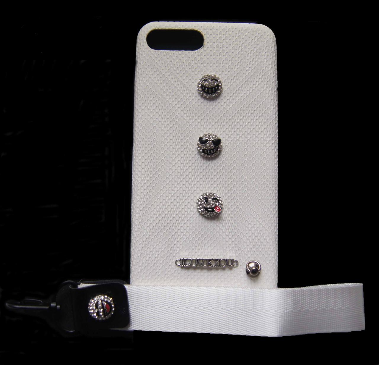 Пластиковый чехол для iPhone 7 Plus / 8 Plus Белый с ремешком