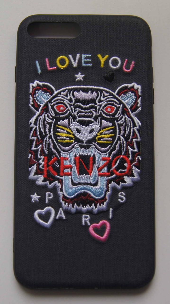 Плаcтиковый чехол для iPhone 7 Plus / 8 Plus I love you Kenzo Black
