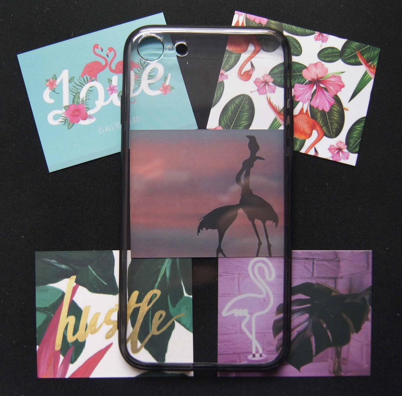 Пластиковый чехол для iPhone 7 / 8 фламинго